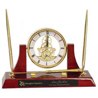 "Executive Rosewood/Gold Piano Finish Clock Desk Set with 2 Pens & Latter Opener (10 1/2"" x 6"")"