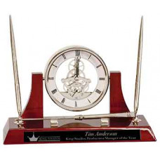 "Executive Rosewood/Silver Piano Finish Clock Desk Set with 2 Pens & Latter Opener (10 1/2"" x 6"")"