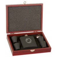 Matte Black Stainless Steel Flask Set with Wood Presentation Box (6 oz.)