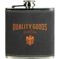 Stainless Steel Flask in Dark Gray/Orange (6 oz.)
