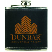 Stainless Steel Flask in Black/Gold (6 oz.)