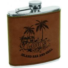 Leatherette Flask in Dark Brown (6 oz)