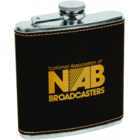 Leatherette Flask in Black (6 oz)