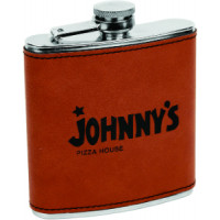 Leatherette Flask in Rawhide (6 oz)