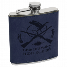 Leatherette Stainless Steel Flask in Blue (6 oz.)
