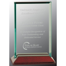 "Beveled Rectangle Jade Glass Award with Piano Finish Base (4"" x 6"")"