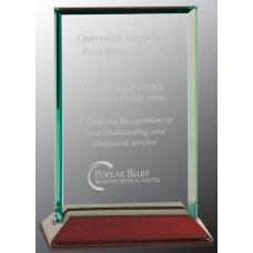 """Beveled Rectangle Jade Glass Award with Piano Finish Base (4"""" x 6"""")"""