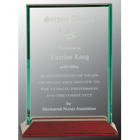 "Beveled Rectangle Jade Glass Award with Piano Finish Base (5"" x 7"")"