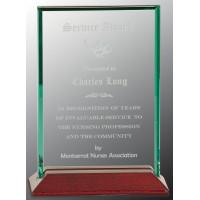 """Beveled Rectangle Jade Glass Award with Piano Finish Base (5"""" x 7"""")"""