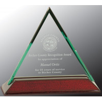 "Beveled Triangle Jade Glass Award with Piano Finish Base (5"")"