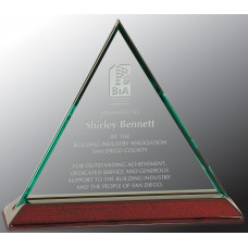 "Beveled Triangle Jade Glass Award with Piano Finish Base (7"")"