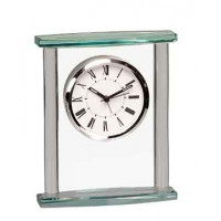 "Square Glass Clock with Top (7"")"
