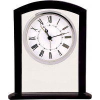 "Square Arch Glass Clock with Black Border (6 1/4"")"