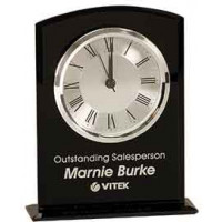 "Black Glass Arch Clock with Base (6 1/4"")"