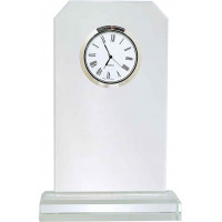 "Clipped Corner Glass Clock with Clear Glass Base (7 1/2"")"