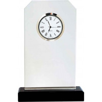 "Clipped Corner Glass Clock with Black Glass Base (7 1/2"")"