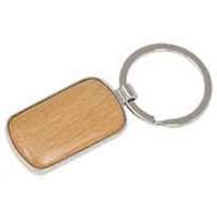 Silver/Wood Keychain in Round Corner