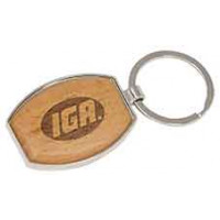 Silver/Wood Keychain in Oval