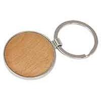 Silver/Wood Keychain in Round