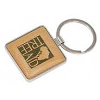 Silver/Wood Keychain in Square