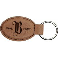 "Leatherette Oval Keychain in Dark Brown (3"" x 1 3/4"")"