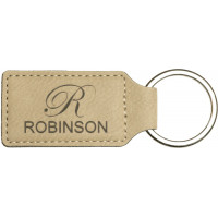 """Leatherette Rectangle Keychain in Light Brown (2 3/4"""" x 1 1/4"""")"""