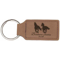 """Leatherette Rectangle Keychain in Dark Brown (2 3/4"""" x 1 1/4"""")"""