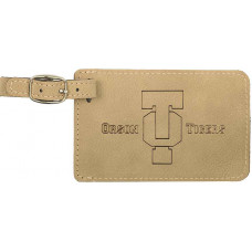 """Leatherette Luggage Tab in Light Brown (4"""" x 2 3/4"""")"""