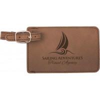 "Leatherette Luggage Tab in Dark Brown (4"" x 2 3/4"")"