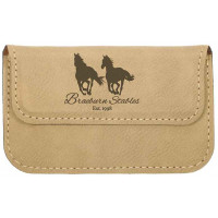 """Leatherette Flexible Card Case in Light Brown (4 1/2"""" x 2 3/4"""")"""