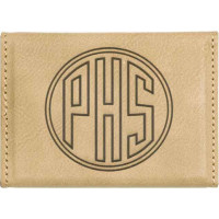 """Leatherette Hard Card Case in Light Brown (3 3/4"""" x 2 3/4"""")"""