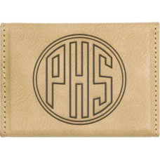 "Leatherette Hard Card Case in Light Brown (3 3/4"" x 2 3/4"")"