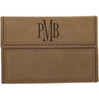 "Leatherette Hard Card Case in Dark Brown (3 3/4"" x 2 3/4"")"