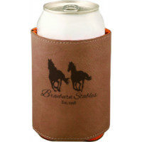"Leatherette Beverage Holder in Dark Brown (3 3/4"")"