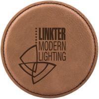 """Leatherette Round Coaster in Dark Brown (4"""")"""