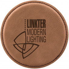"Leatherette Round Coaster in Dark Brown (4"")"