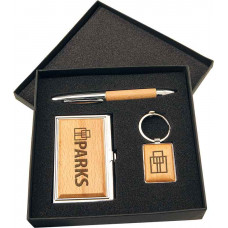 Gift Set with Card Case, Pen & Keychain in Silver/Wood