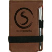"""Leatherette Pad/Pen in Dark Brown (3 1/4"""" x 4 3/4"""")"""