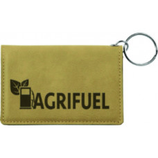"""Leatherette ID Holder Keychain in Light Brown (4 1/4"""" x 3"""")"""