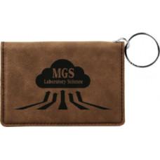 """Leatherette ID Holder Keychain in Dark Brown (4 1/4"""" x 3"""")"""