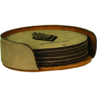 """Leatherette Round Coaster Set in Light Brown (4"""")"""