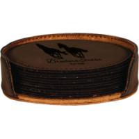 """Leatherette Round Coaster Set in Dark Brown (4"""")"""