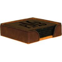 """Leatherette Round Coaster Set in Dark Brown (4"""" x 4"""")"""