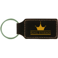 """Leatherette Rectangle Keychain in Black (2 3/4"""" x 1 1/4"""")"""