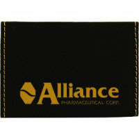 "Leatherette Hard Card Case in Black (3 3/4"" x 2 3/4"")"