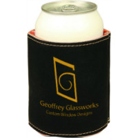 "Leatherette Beverage Holder in Black (3 3/4"")"