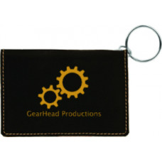 """Leatherette ID Holder Keychain in Black (4 1/4"""" x 3"""")"""