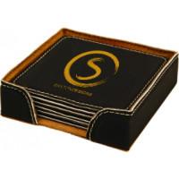 "Leatherette Round Coaster Set in Black (4"" x 4"")"