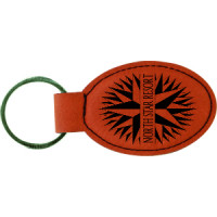 """Leatherette Oval Keychain in Rawhide (3"""" x 1 3/4"""")"""