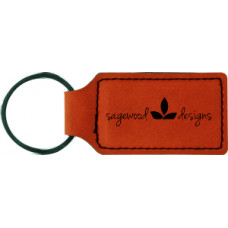"""Leatherette Rectangle Keychain in Rawhide (2 3/4"""" x 1 1/4"""")"""